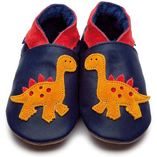 Inch Blue Dino Dark Navy Leather Baby Soft Soles Dark Navy