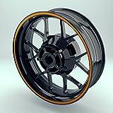 OneWheel Felgenstreifen Motorrad & Auto 6mm Komplett-Set (15-19 Zoll) - Farbe wählbar - 10 Felgenrandaufkleber (Orange - matt)