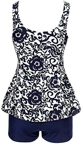 YuanYan Damen Blumen Print Badeanzug Tankini Top Schwimmanzug mit Hosen Bademode Marineblau