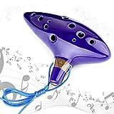 GUNAI Zelda Ocarina 12 Trous Céramique Légende de of the Time Alto C Bleu Avec Présentoir, sac de Protection, Cordon de cou et Partition de Musique