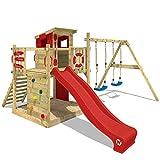 Spielturm mit Kletterwand, Sandkasten, Schaukel & Rutsche*