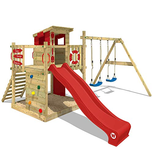Empfehlung: Spielturm mit Kletterwand, Sandkasten, Schaukel & Rutsche  von Wickey*