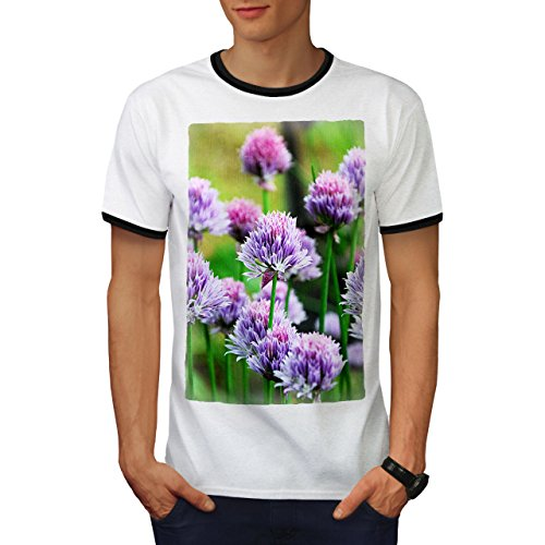 Klee Blume Wild Natur Natur Herren M Ringer T-shirt | Wellcoda (Licht-t-shirt Klee)