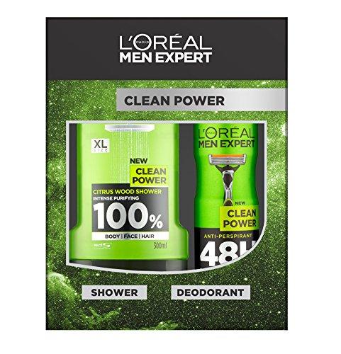 L´Oreal Men Expert Geschenk-Set Clean Power, mit Duschgel 300ml & Deospray 150ml