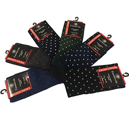 Euronovità Calcetines para Hombres Calientes (100% algodón de Lunares Mode pequeño algodón Stretch Long Confortable y Sobre la Punta y el talón–Talla única. Fabricado en Italia. 6Pares