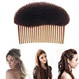 1 pc Bump It Up Volume Hair Styling Clip Bun Maker Inserto capelli Strumento Accessori per capelli multifunzionali con inserto di pettine(Marrone)