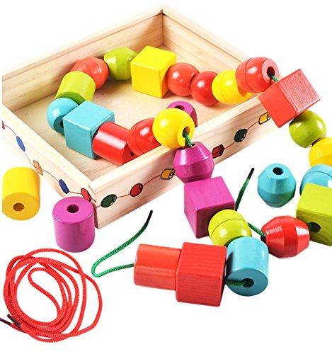 Lewo Madera gran jumbo cuentas de encaje para niños Montessori juguetes educativos 30 piezas con 2 lazos