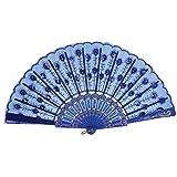 ZYHMXT Abanico, Abanico Retro Estilo Chino Baile Banquete de Boda Seda de Encaje Azul Marino Plegable Flor de Mano Abanico Color de la Flor Práctico
