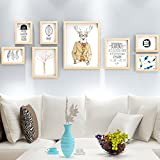 WollWoll Wildlife Theme Office Design with Quote Large Wood Photo Frame Set (144 cm x 2 cm x 52 cm)