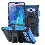 ECENCE Handyhülle Schutzhülle Outdoor Case Cover + Panzerfolie kompatibel für Samsung Galaxy J3 (2016) Duos Handytasche Blau 43040309