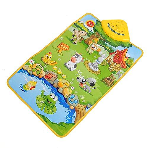Delaman Baby Musik Teppichmatten Schlafzimmer Wohnzimmer Happy Farm Teppich mit Pony Kuh Hund Küken Frosch Schaf (40 x 60 cm) (Pony-teppiche)