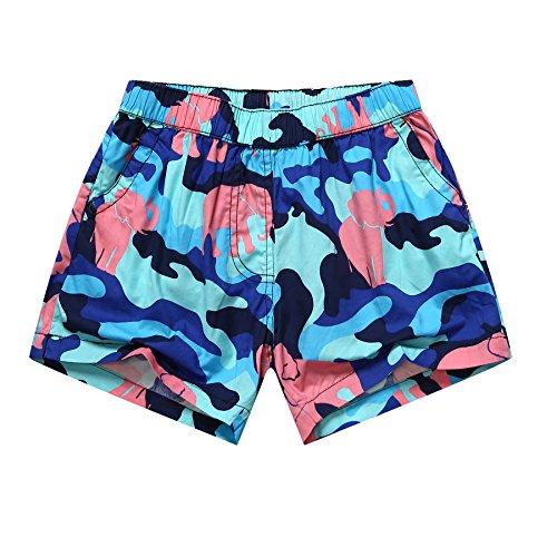 HOOM-Nouveau pantalon de plage d'été occasionnels Shorts hommes Camo coton taille lâche cinq pantalons shorts Green girl b