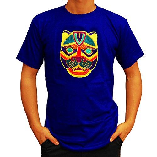 "T-Shirt ""JAGUAR"" UV Maya Jaguar Ritualmaske schwarzlicht Goa Shirt mit Blume des Lebens BL-XXL"