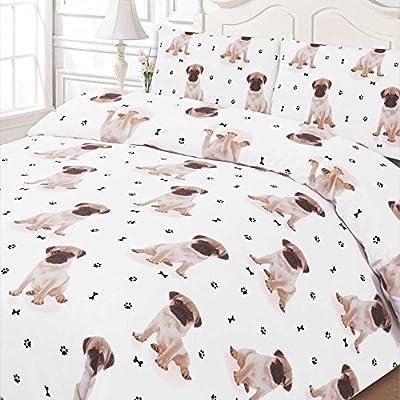 Dreamscene Luxuriously Soft Animal Pug Duvet Cover Bedding Set With Pillowcases, White, Single by Dreamscene