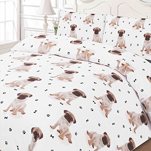 Dreamscene-Luxuriously-Soft-Animal-Pug-Duvet-Cover-Bedding-Set-With-Pillowcases-White-Single
