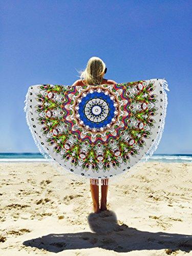 Beliebtes, rund NEUE Pfau Indian Tapisserie Mandala Hippie Bohemian Strandtuch Yoga Matte Decke Tagesdecke 177,8cm ca. (Neue Beliebte Fashion)