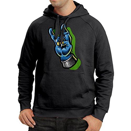 Kapuzenpullover Zombie Hand EIN Rock and Roll Symbol, Zeichen der Hörner Schwermetall Zeichen (Large Schwarz Mehrfarben)