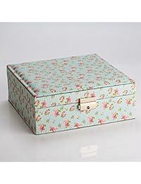 LE Joyero cuero de gran capacidad europeo, caja de almacenamiento de joyería, anillo,