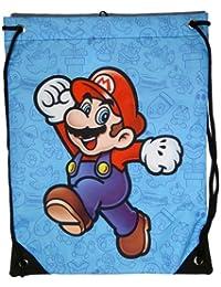 Nueva Nintendo Super Mario Bros negro cordones Mario impreso gimnasio bolsa azul