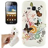 Rocina TPU Case für Samsung S7272 Galaxy Ace 3 Schmetterlinge bunt/schwarz/weiß