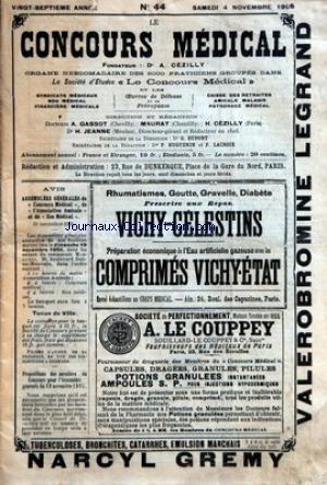CONCOURS MEDICAL (LE) [No 44] du 04/11/1905 - REUNION DU CONSEIL D'ADMINISTRATION POUR PREPARATION DE L'ASSEMBLEE GENERALE... - ASSOCIATION AMICALE - LA SEMAINE MEDICALE - CLINIQUE CHIRURGICALE - CLINIQUE OPHTALMOLOGIQUE - ETUDES ET PROJETS - CORRESPONDANCE - CHRONIQUE PROFESSIONNELLE - BULLETIN DES SOCIETES D'INTERET PROFESSIONNEL - CHRONIQUE DU SOU MEDICAL - REPORTAGE MEDICAL - REUNION DU CONSEIL D'ADMINISTRATION - POUR PREPARATION DE L'ASSEMBLEE GENERALE.