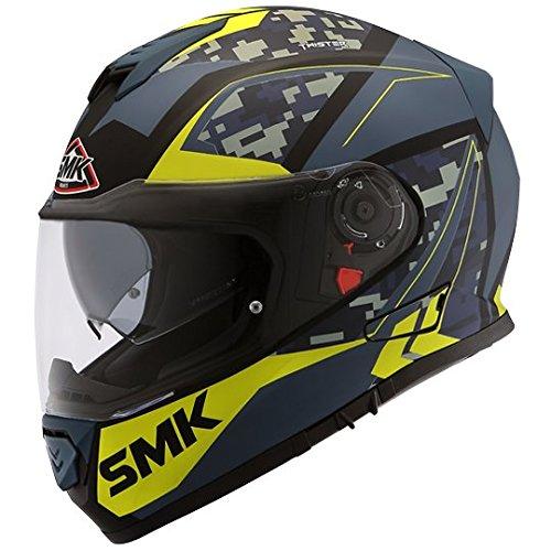SMK Twister Zest MA258 Pinlock fitted with Clear Visor (Matt Black, Blue/Green, XL)