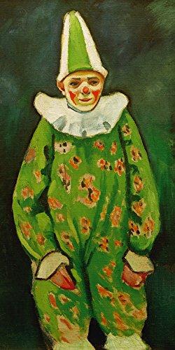 Artland Alte Meister Wandbild August Macke Clown in grünem Kostüm Kunst Leinwandbild Expressionismus Gemälde Kunstdruck auf Leinwand 60 x 30 cm B4RU (Expressionismus Kostüm)