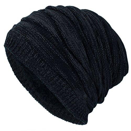 Fleece Snowboard Beanie (Kuyou Winter Beanie Mütze Slouch Strickmütze mit warmem Fleece Innenfutter (Schwarz))