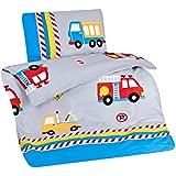 Aminata Kids - bunte Kinderbettwäsche Bettwäsche Kinder 100x135 Jungen Baumwolle Feuerwehrauto Fahrzeuge Automotiv Auto LKW Reißverschluss RV Kleinkinder Autos Jungs-Motiv
