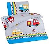 Aminata Kids bunte Kinderbettwäsche Bettwäsche Kinder 100x135 Jungen Baumwolle Feuerwehrauto Fahrzeuge Automotiv Auto LKW Reißverschluss RV Kleinkinder Autos Jungs-Motiv