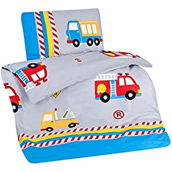 aminata kids bunte kinderbettw sche bettw sche kinder 100x135 jungen baumwolle feuerwehrauto. Black Bedroom Furniture Sets. Home Design Ideas