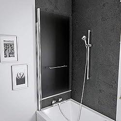 Schulte pare baignoire relevable, paroi de baignoire anticalcaire, écran de baignoire pivotant avec porte-serviettes, 1 volet rabattable, verre transparent, 75x145 cm