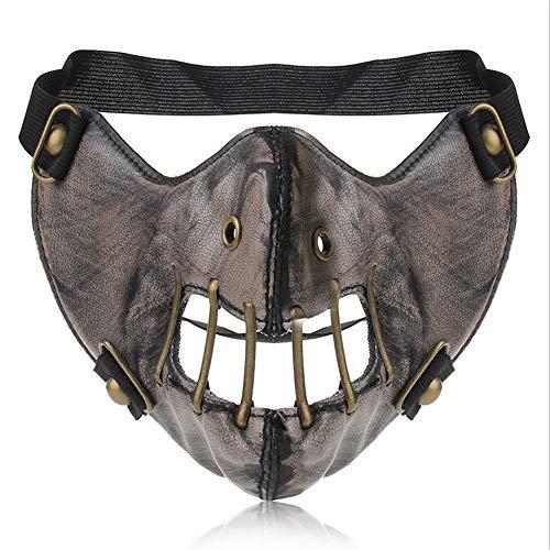(Bat Form Motorrad Anti Staubmaske Halbes Gesicht Gothic Niet Steampunk Biker Männer Cosplay Airsoft Wind Cool Punk Halloween Maskerade Maske)