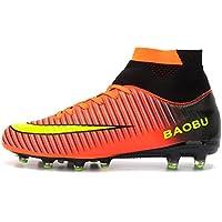 LANSEYAOJI Chaussures de Football Garçon Homme High Top Chaussures de Foot Crampons en Microfibres Enfant Adolescents Adulte Profession Athlétisme Entrainement Chaussures de Sport