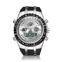 binzi militare orologi da uomo orologio da polso impermeabile sport digitale orologio di lusso luce LED doppio display con banda di silicone nero