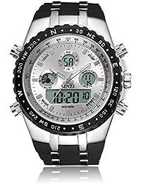 BINZI Herren Militaer Digital Uhr Wasserdicht Sport Quarzherrenuhr Dual-Display Mit Schwarzem Silikonband xxl size