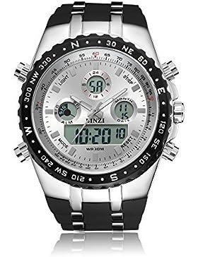 [Gesponsert]BINZI Herren Militaer Digital Uhr Wasserdicht Sport Quarzherrenuhr Dual-Display Mit Schwarzem Silikonband xxl...