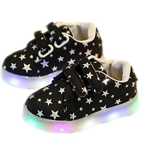 Baby Kind Art und Weiseturnschuhe LED-leuchtendes Kind Kleinkind beiläufige bunte helle Schuhe Von QinMM (2-2.5Jahr, Schwarz) (11 Jahre Alte Halloween Kostüme Uk)