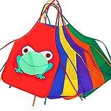 10 Stück Kinder Schürze Kinder-Malschürze mit Frosch Bastelschürze Latzschürze Ideale Schutzbekleidung für Kindergarten , Geburtstagspartys oder Malstunde MIX FARBEN