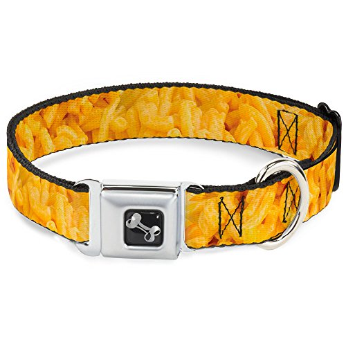 "Buckle Down 15-26"" Mac & Cheese Vivid Dog Collar Bone, Large"