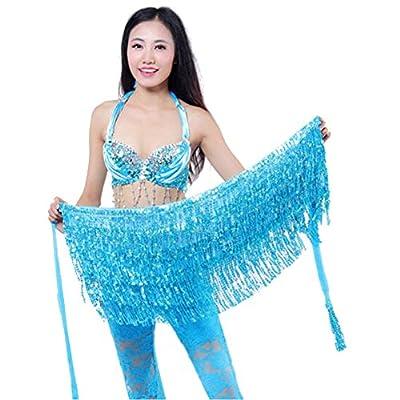 New Belly Dance Dancer Costume Sequins Tassels Fringes Hip Scarf Belt Waist Skirt Blue One Size