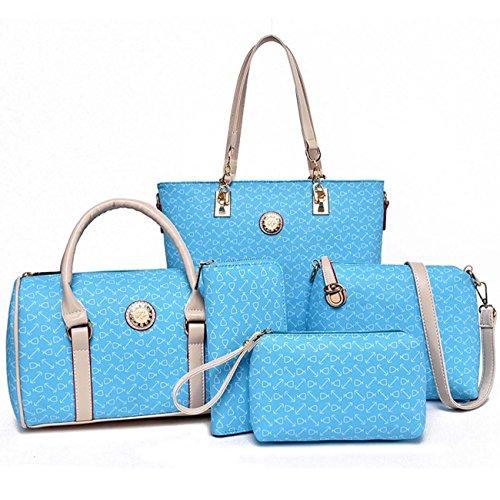 Sacchetto di chiave della borsa della borsa della borsa di cinque pezzi della borsa della donna, stile dell'ancoraggio di modo Sky Blue