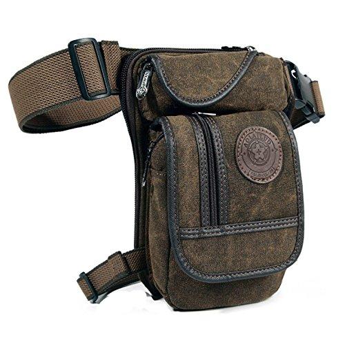 Robuste Outdoor Hüfttasche/Beintasche/Gürteltasche/Messenger Bag/Motorrad- & Fahrrad-Tasche für Herren im Tactical Military Look (Olivebraun)
