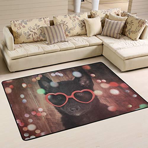 JSTEL Teppich, waschbar, weich, niedlich, schwarzer Hund mit rotem Herzen, Sonnenbrille, Holz, 90 x 60 cm, Multi, 180 x 120 cm