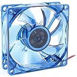 Caja de la PC del ordenador CPU refrigerador ventilador 80x25mm 4Pin 4 LED azul