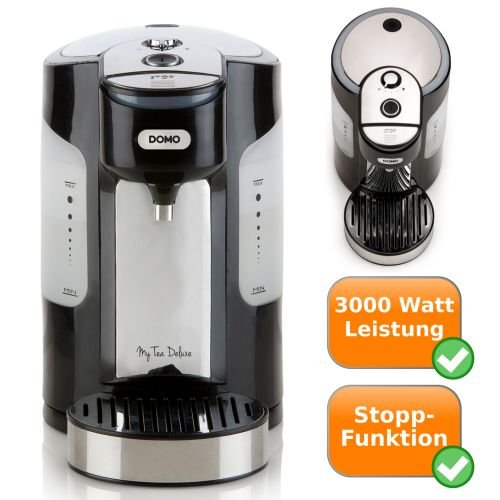 hochwertiger Express Teekocher | Blitz Wasserkocher | Teewasser in 45 Sek. + Stopptaste | Schnellkocher | schwarz