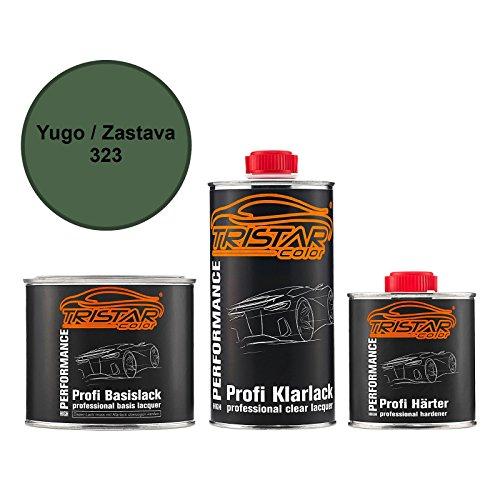 Preisvergleich Produktbild Autolack Set Dose spritzfertig Yugo / Zastava 323 Olivgruen / Olive Green / Maslinasto Ze Basislack + 2K Klarlack 1, 25L