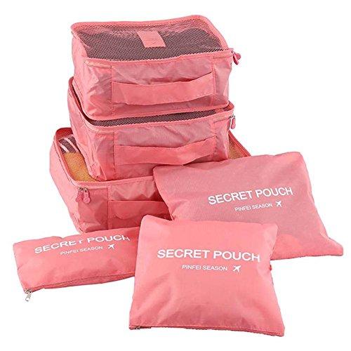 YSBER 6 Pcs Packing Cubes Set, 6 verschiedene große wasserdichte Nylon Travel Gepäck Organizer(Rosa) (Schweizer Computer-rucksack)