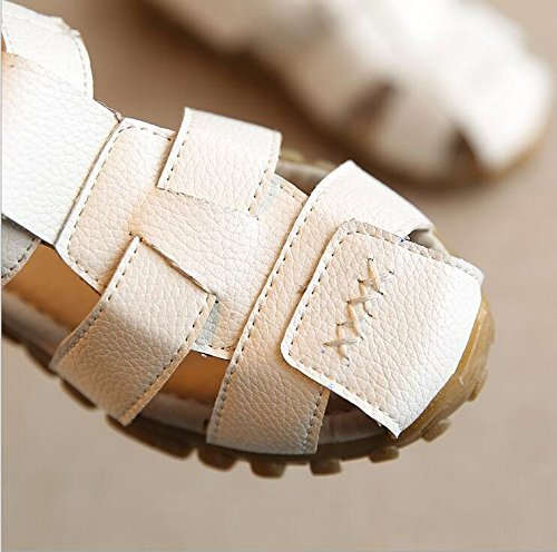 Gaorui KinderJungen Strand Sandalen geschlossen Toe PU Leder Halbschuhe Slipper Weiß Weiß