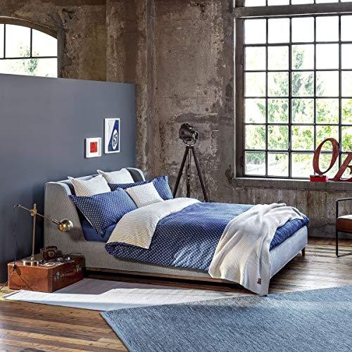 Satin Bettwäsche Polka Dots Denim 1 Bettbezug 135x200 cm + 1 Kissenbezug 80x80 cm ()
